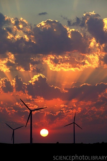 Wind turbines at sunset. Credit: PHILIPPE BENOIST / EURELIOS / SCIENCE PHOTO LIBRARY